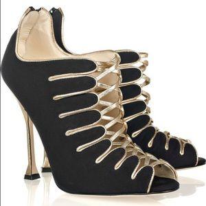 Sz 7 Brian Atwood Silk Crepe de Chine Naiya Heels
